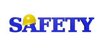 SAFETY 3D Text - Blue with Yellow Hardhat. Bold, blue text reads `SAFETY` with a shiny, yellow hardhat resting on the `A` and isolated on a white background. It` vector illustration