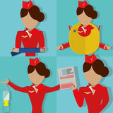 The Safety Demonstration. The Stewardess Shows the Safety Demonstration Stock Photo