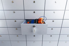 Safety deposit box in a bank with dynamite 3D illustration Royalty Free Stock Photo