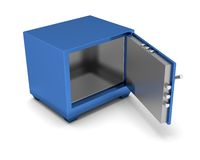 Safety Deposit Box blue color on a white background. 3d render Royalty Free Stock Photography