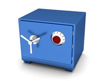 Safety Deposit Box blue color on a white background. 3d render Stock Images
