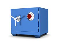 Safety Deposit Box blue color on a white background. 3d render Stock Image