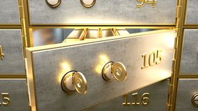 Safety deposit box with gold bars inside opened by two golden keys