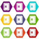 Safety deposit box icon set color hexahedron. Safety deposit box icon set many color hexahedron isolated on white vector illustration Royalty Free Stock Photography