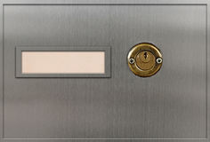 Safety deposit boxes. And keyhole Royalty Free Stock Images