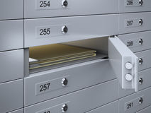 Safety deposit boxes with documents Stock Photography