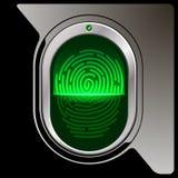 Safety device fingerprint reade. Fingerprint scanner on a black plastic base Royalty Free Stock Photo