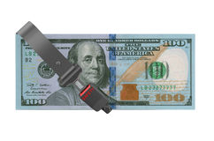 Safety dollars concept, dollar with safety belt Royalty Free Stock Image