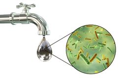 Safety of drinking water concept. 3D illustration showing old tap with dirty water and close-up view of water-borne microbes Stock Image