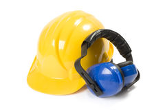 Safety equipement. Helmet and ear protectors isolated on white background Stock Image