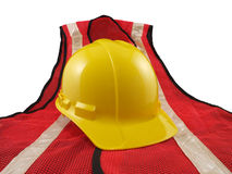 Safety Equipment. Hard hat and vest.  Essential construction safety wear Royalty Free Stock Images