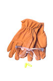 Safety equipment. Safety glasses, gloves, and earplugs Stock Photography