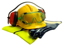 Safety equipment. Various worker safety equipment or gear isolated on white Royalty Free Stock Photos