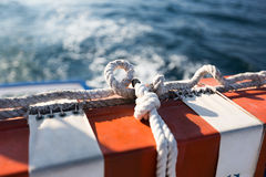 Safety equipment on the boat. Red and White Safety equipment on the sail boat Royalty Free Stock Photos