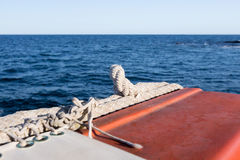Safety equipment on the boat. Red and White Safety equipment on the sail boat Royalty Free Stock Images