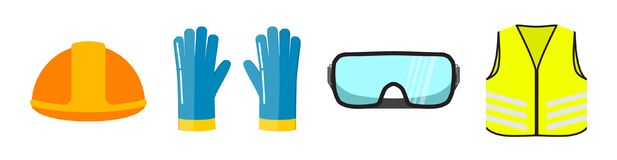 Safety equipment flat illustration, isolated on white. Background. Construction helmet, blue safety gloves, transparent glasses, neon safety vest front view royalty free illustration