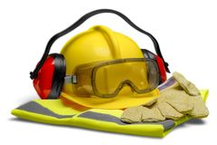Safety Equipment - Helmet, Goggles, Ear Protection royalty free stock photography