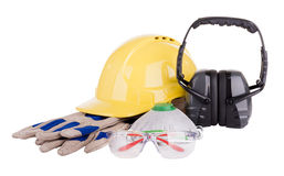 Safety Equipment Isolated. Safety equipment or PPE - personal protective equipment - with hard hat, safety glasses, gloves, face mask and earmuffs isolated on Stock Images