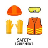 Safety equipment items flat vector illustration, isolated on whi. Te background. Construction helmet, transparent glasses, safety gloves, orange neon safety vest Stock Photography