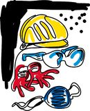 Safety Equipment. NSafety helmet.nSafety glove.nSafety glasses.n stock illustration