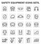 Safety equipment icons. Safety equipment and tool vector icon sets design stock illustration