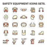 Safety equipment icons. Safety equipment and tool vector icon sets design Royalty Free Stock Image