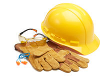 Safety equipment. Various type of protective work wears against white background stock images