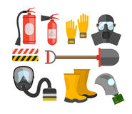 Safety equipment vector set. Fire protection and fire. A gas mas. K and a fire extinguisher. Set firefighter or rescuer. Rescue tools. Safety work Stock Photos