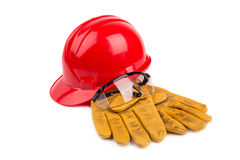 Safety equipment. On the white background Stock Photo