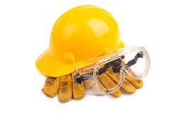 Safety equipment. On the white background Stock Photos
