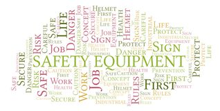 Safety Equipment word cloud. Word cloud made with text only stock illustration