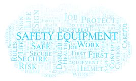 Safety Equipment word cloud. Word cloud made with text only royalty free illustration