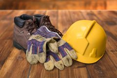 Safety Equipment. Work Boot Hardhat Protective Workwear Work Glove Safety Boot Stock Images