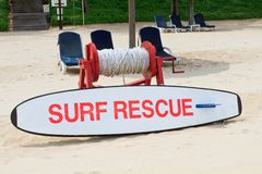 Safety First. Beach rescue equipment on standby to aid ocean swimmers requiring assistance stock photos