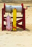 Safety First. Beach rescue equipment on standby to aid ocean swimmers requiring assistance royalty free stock photo