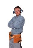 Safety first 2. Young carpenter wearing safety gear Stock Photography