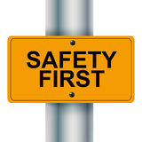 Safety first. Illustration of safety first sign Royalty Free Stock Image