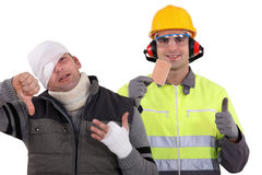 Safety first. Working as a builder can be dangerous Stock Photos