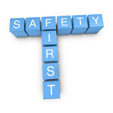 Safety first 3D crossword on white background Stock Photography