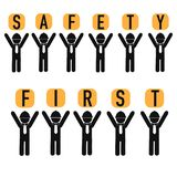 Safety first abstract poster. On this picture you can see some business safety at life poster. You can use this picture for all your needs Stock Photos