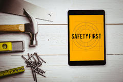 Safety first against blueprint Royalty Free Stock Photos