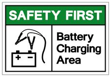 Safety First Battery Charging Area Symbol Sign, Vector Illustration, Isolate On White Background Label .EPS10 vector illustration