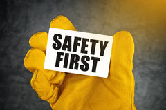Safety First on Business Card Royalty Free Stock Image