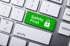 Safety First Button On Keyboard Royalty Free Stock Images