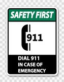 symbol Safety First In Case of Emergency Sign on transparent background stock illustration