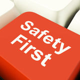 Safety First Computer Key Showing Caution Protection And Hazards Royalty Free Stock Images