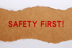 Safety First Concept. Torn Paper with text safety first Stock Image