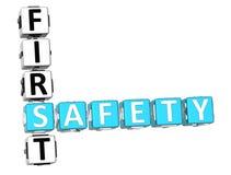Safety First Crossword. 3D Safety First Crossword on white background Stock Photos