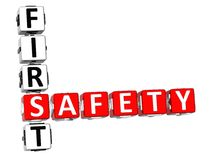 Safety First Crossword. 3D Safety First Crossword on white background Royalty Free Stock Image