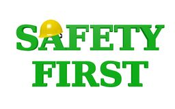SAFETY FIRST 3D Text - Green with Yellow Hardhat stock illustration